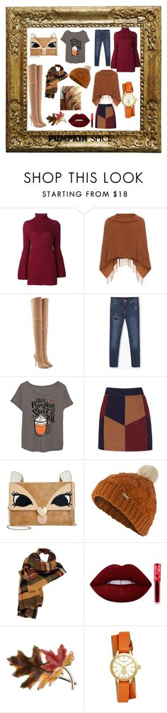 """""""Fall Pumpkin Spice"""" by kimberly-johnsonae ❤ liked on Polyvore featuring Rosetta Getty, Samoon, Balmain, MANGO, LC Trendz, La Marque, Betsey Johnson, Barbour, Wilsons Leather and Lime Crime"""