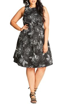 Main Image - City Chic Fit & Flare Dress (Plus Size)