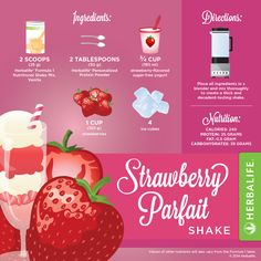 Strawberry Parfait Shake is the the perfect way to satisfy this craving when you want some rich strawberry cake with weeping cream and all it goodness. You can get this quick and delicious dessert in a healthy meal when you reach for an Herbalife Formula 1 shake. Know you can substitute the nonfat milk for silk, organic, almond, lactose free, or milk powder. If you prefer fresh fruits instead frozen fruits you could change that too.