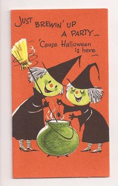 . VINTAGE  HALLOWEEN Party Invitation Cards with Witch