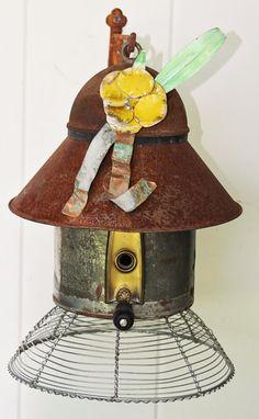 Birdhouse Metal Birdhouse Reclaimed Objects Birdhouse by channa01, $85.00