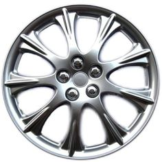 """KT ABS Plastic Aftermarket Wheel Cover 15"""" Classic Silver 4 Piece 