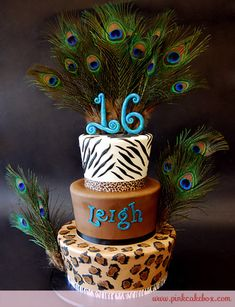 Zebra and Cheetah Sweet 16 Cake. Completely up Betiy's alley. She has been into peacock and cheetah themes this year! Perfect color theme also!