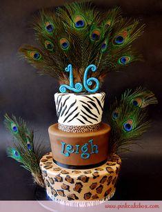 Zebra and Cheetah Sweet 16 Cake