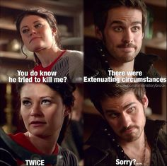 """Belle reminds Hook that he tried to kill her, twice, and he makes excuses and a poor attempt at an apology - 3.15 """"Quiet Minds"""" HA HA so funny!"""