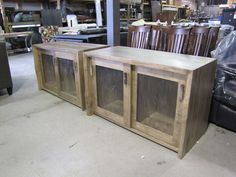 """matching """"Sophia"""" buffet's with antique glass sliding doors"""