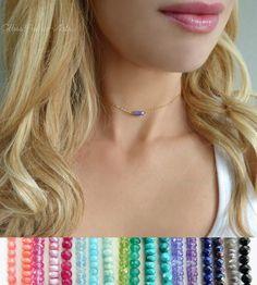 Gemstone Choker Necklace - Choose Your Favorite Gemstone
