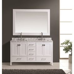 new waves pedro 60 double sink vanity with carrera marble top from rh pinterest com