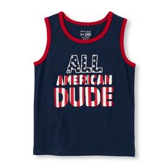 Toddler Boys Matchables Sleeveless 'All American Dude' Graphic Tank Top