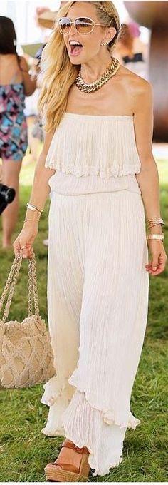 Rachel Zoe,, blk one piece jumper w blk tie up wedges or blk heel wedges, bracelets, ysl bag
