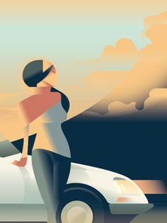 Art Deco Inspired Illustration by Mads Berg Art And Illustration, Illustrations And Posters, Posters Vintage, Art Deco Posters, Car Posters, Art Pop, Art Deco Design, Graphic Design Art, Cover Art