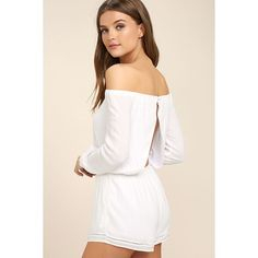 Tavik Carey White Off-the-Shoulder Romper ($78) ❤ liked on Polyvore featuring jumpsuits, rompers, white, long sleeve romper, white backless romper, off shoulder romper, tavik and long-sleeve rompers