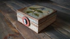 The wooden box is decorated with decoupage method, then painted and decorated.    The box dimensions: 15/15cm (5,9 / 5,9inch), and the height: 6.5 cm (2,6inch)    ****100%... #housewares