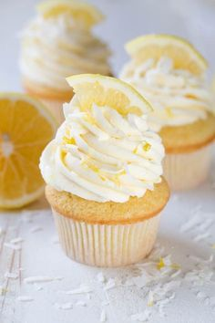 Lemon Coconut Cupcakes with Vanilla Buttercream Frosting