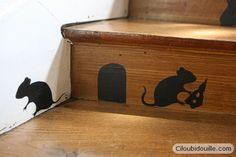 Des souris dans l'escalier