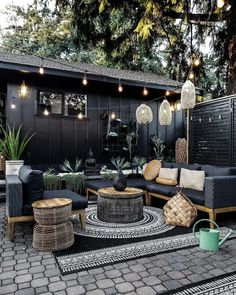 Backyard Patio Designs, Backyard Landscaping, Outdoor Spaces, Outdoor Living, Outdoor Decor, Pergola, String Lights Outdoor, Porches, Sectional Couches
