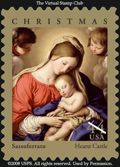 One of Sassoferrato's Madonnas with the sleeping Christ also made it onto a US Christmas stamp, just like Elisabetta Sirani...