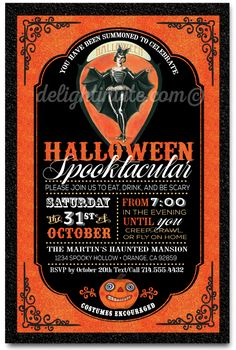 Vintage Adult Halloween Cocktail Party Invitations, retro Halloween party invites
