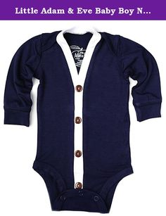 Little Adam & Eve Baby Boy Navy Blue Cardigan 12-18 Months. Our Cardigan is perfect for your little boy! Our cardigan's are sure to get attention and look amazing when paired with our suspenders or bowtie. You will not be disappointed with the super soft feel of this baby Cardigan. This is a very SOFT ONESIE. We Pride ourselves on our EXCEPTIONAL QUALITY. Our onesies are sent through a quality control process to make sure you get the very best- most beautiful product. We love our the…