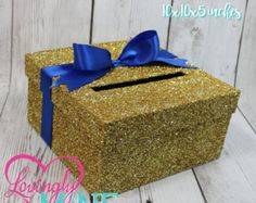 Cardbox - Glitter Gold and Royal Blue Gift Money Box for Any Event - Royal Baby Shower, Wedding, Bridal Shower, Birthday Party, Sweet 16 by LovinglyMine on Etsy Royal Baby Shower Theme, Baby Shower Azul, Royal Baby Showers, Baby Shower Themes, Baby Boy Shower, Shower Ideas, Royal Theme, Money Box, Gift Money