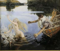 Akseli Gallen-Kallela, 'Aino' triptych (middle panel). Väinämöinen uses his magic to fish for Aino in the lake that she entered. He catches a small fish but decides it is too plain and insignificant to be his fiancée, so he throws it back. In that instant the fish changes into Aino who proceeds to mock the old man, that he held her in his hand but chose to let her go. After that she vanishes for ever.