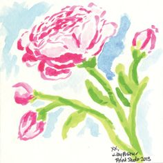 Lilly Pulitzer Preppy & Whimsical Art - Prints, Patterns, Paintings, Doodles, & Sketches - Rose, Flower