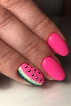 Nail Art Designs, Square Nail Designs, Simple Nail Designs, Watermelon Nail Designs, Watermelon Nail Art, Stylish Nails, Trendy Nails, Brown Acrylic Nails, Artificial Nails