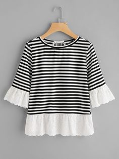 Shop Eyelet Embroidered Trim Bow Back Stripe Tee online. SheIn offers Eyelet Embroidered Trim Bow Back Stripe Tee & more to fit your fashionable needs. Fall Fashion Outfits, Stylish Outfits, Kids Fashion, Cute Outfits, Fashion Design, Diy Clothes, Clothes For Women, Striped Tee, Types Of Sleeves