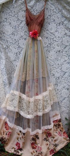 Beige tulle dress dress handmade by vintage opulence on Etsy The top is a soft deep tea stained lace with lining, adjustable spaghetti shoulder Tulle Dress, Boho Dress, Lace Dress, Pretty Outfits, Pretty Dresses, Beautiful Dresses, Mode Baroque, Boho Fashion, Vintage Fashion