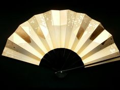Japanese Dance Fan Mai Ogi Gold Flecks in Hand by VintageFromJapan, $22.00