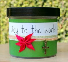 """Christmas Scripture Jar, Christian Gift Set With 33 Verses on Birth of Christ, Advent Gift, Christmas in July - """"Joy to the World""""l"""""""