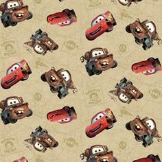 "$20.17 for 12yd bolt Disney Cars Fabric 44/45"" Wide 100% Cotton 12yd D/R-Cars Toss on Map Springs Creative Products"
