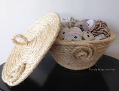 -coiled sisal rope basket with lid