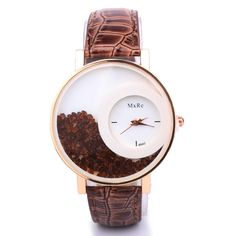 Floating Crystal Beads Quartz Watch (Brown)