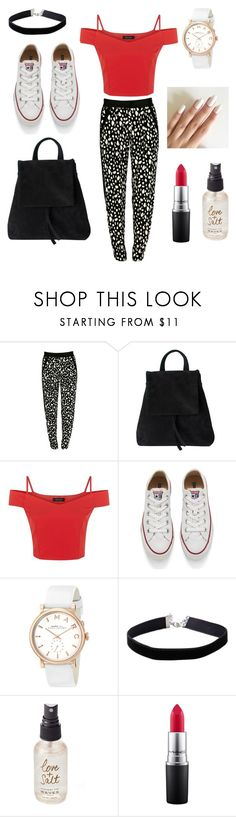 """""""Baggy monochrome and red cold shoulder """" by anyaaa04 on Polyvore featuring Sea, New York, Converse, Marc by Marc Jacobs, Miss Selfridge, Olivine, MAC Cosmetics, Beauty, fashionblogger and beautyblogger"""
