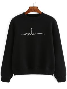 Probably my favourite Crew Neck Print Black Sweatshirt 10.90