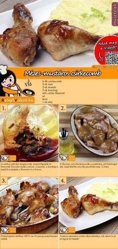 Mézes-mustáros csirkecomb recept elkészítése videóval Easy Casserole Dishes, Good Food, Yummy Food, Hungarian Recipes, Cooking Recipes, Healthy Recipes, Light Recipes, Food To Make, Chicken Recipes