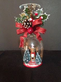 Christmas wineglass candle holder - reindeer by ImaginedByDonna on Etsy Easy Christmas Decorations, Christmas Centerpieces, Diy Christmas Ornaments, Christmas Art, Christmas Projects, Simple Christmas, Christmas Wreaths, Christmas Picks, Reindeer Christmas