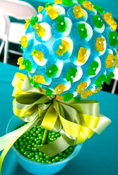 Blue Green Yellow Candy Land Centerpiece Topiary Tree, Candy Buffet Decor Arrangement Wedding, Mitzvah, Party Favor, Edible Art. $46.99, via Etsy.