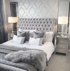 Grey Bedroom Design, Grey Bedroom Decor, Stylish Bedroom, Room Ideas Bedroom, White Bedroom, Modern Bedroom, White And Silver Bedroom, Bedroom Furniture, Kids Bedroom