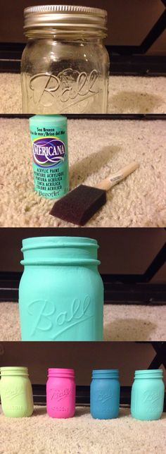Gorgeous painted mason jar diy! I used a sponge brush to paint two coats, and I let it dry for about two hours. Supplies: Mason jar, acrylic paint, sponge brush Ft. Americana brand: Pistachio mint, carousel pink, desert turquoise, and sea breeze (I used a nail file to give pink painted jar a weathered look)