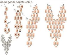 lana-bead.info diagrams  diagonal peyote stitch  ~ Seed Bead Tutorials