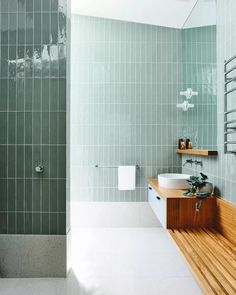Now trending in interior design: green tile. From moody emerald greens to youthful mint green hues, green tile is having a moment. Check out our favorite bathroom, kitchen, and commercial tile installations. Contemporary Interior Design, Modern Bathroom Design, Bathroom Interior Design, Bath Design, Modern Bathrooms, Interior Designing, Dream Bathrooms, Bad Inspiration, Bathroom Inspiration