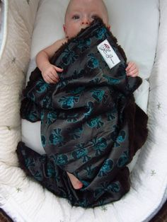 "Turquoise Skull Brocade & Chocolate Minky Baby Blanket, ""Jack Sprat"" on Etsy, $65.00"