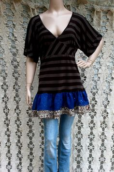 REVIVAL Upcycled Boho Knit Shirt Top Blouse Striped by REVIVAL, $37.99