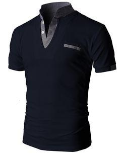 Doublju Men's Unique Hybrid Fashion Polo Shirts with Short Sleeve (KMTTS0100) #doublju