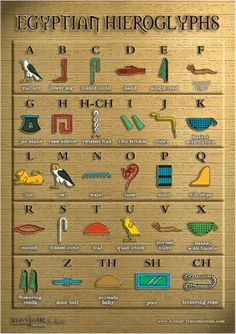 An size poster showing the colourful Egyptian hieroglyphic alphabet and the modern day letters they represent. I post my items within 24 hours of purchase. Egyptian Alphabet, Egyptian Symbols, Ancient Symbols, Egyptian Art, Ancient Egypt For Kids, Ancient Egypt History, Ancient Egypt Activities, Poster A3, Poster Shop