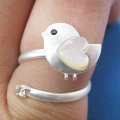 $10 Adjustable Bird Animal Wrap Ring in Silver with Heart Shaped Wings - ALLERGY FREE