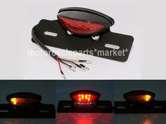 Motorcycle LED Brake Tail Light Turn Signal License Plate Holder Cafe Racer ATV | eBay