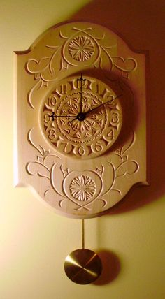 "Hand carved chip-carved clock with pendulum movement. Runs on one ""C"" battery (included). Natural basswood has a beautiful gold coloring that deepens over time. One of a kind. Chip Carving, Wood Carving, Whittling Wood, Pendulum Clock, Got Wood, Diy Clock, Carving Designs, Wood Clocks, Wood Ornaments"